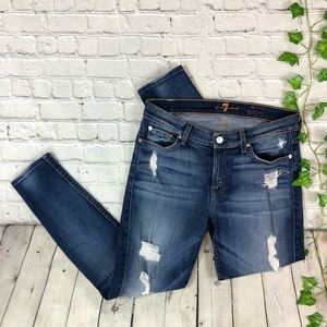 7 For All Mankind Mid Rise Distressed Skinny Jeans
